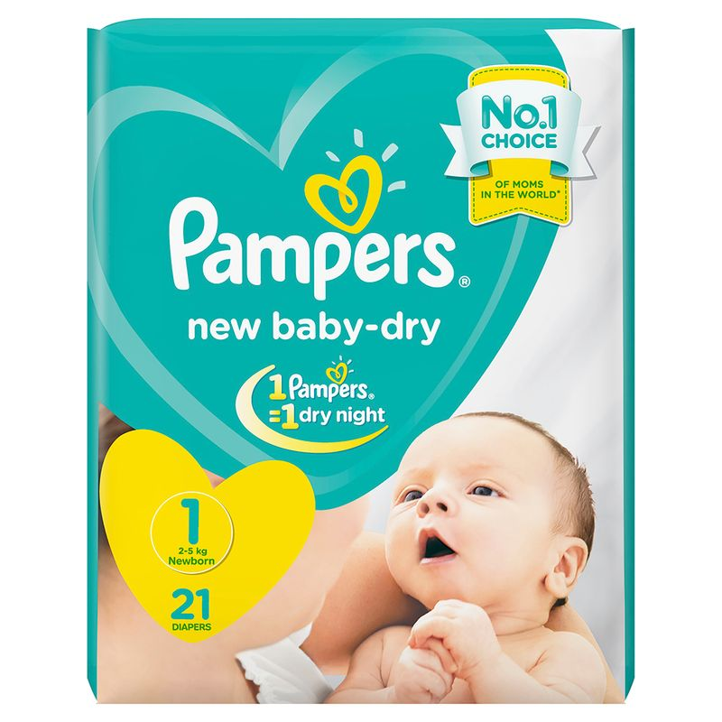 Pampers Baby Dry Diapers New Born (21 Pcs)