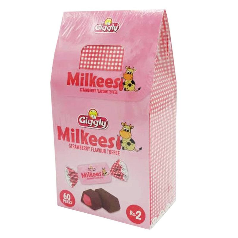 Giggly Milkees Strawberry Flavour Toffee 60 Pieces