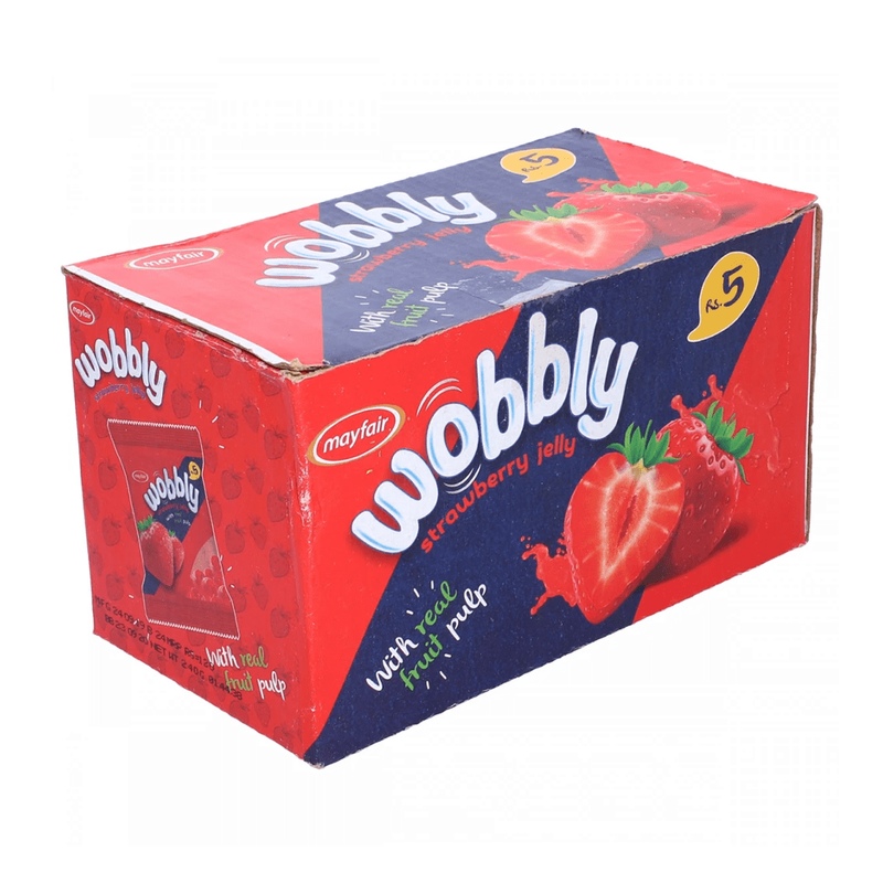 Mayfair Wobbly Strawberry Flavoured Jelly 24 Packs