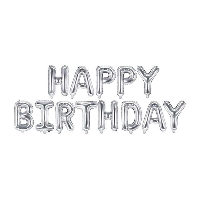 Foil Balloon Happy Birthday Letters Silver 1 Pack
