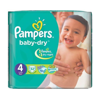 Pampers Baby Dry Maxi Diapers 4 (32 Pcs)