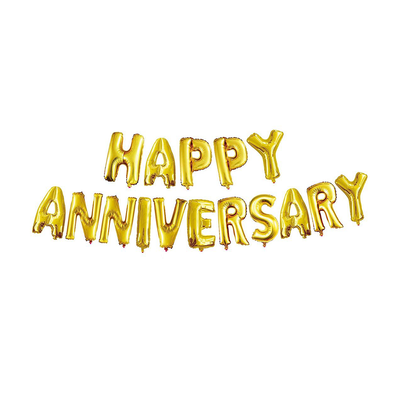 Happy Anniversary Foil Balloon Letters Gold Set