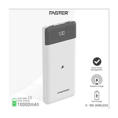 Faster E-18x Quick Charge 3.0 Wireless Power Bank