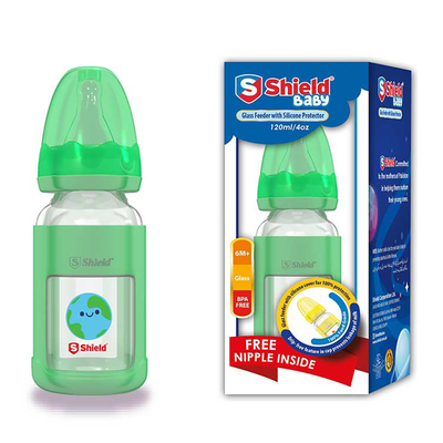Shield Baby Glass Feeder with Silicone Protector Dip Free 120ml / 4oz
