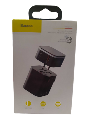 Baseus Removable 2 in 1 Universal Travel Adapter PPS Quick Charge Edition (Type-C + USB Dual Port)
