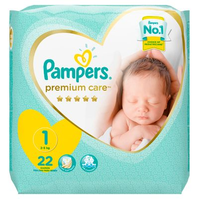 Pampers Premium Care Diapers Extra Small Size for New Born Size (22 Pcs)