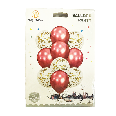 Confetti Balloons Red 10 Pieces Set