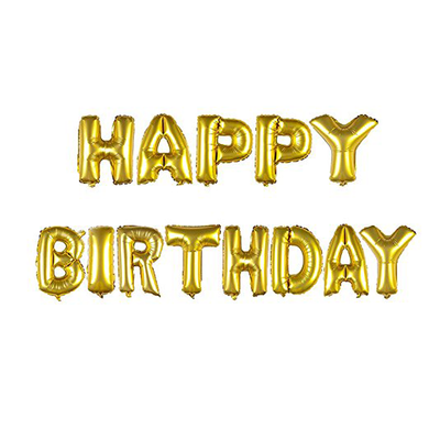 Foil Balloon Happy Birthday Letters Gold 1 Pack