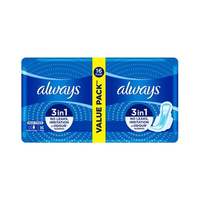 Always Maxi Thick Extra Long Value Pack 16 Pads