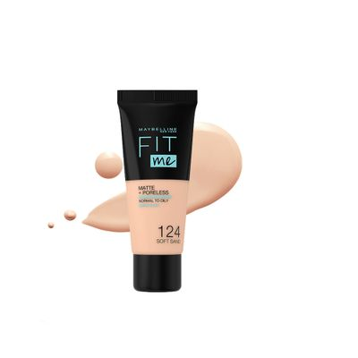Maybelline New York Fit Me Matte & Poreless Liquid Foundation - 124 Soft Sand - For Normal to Oily Skin