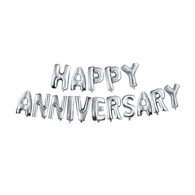 Happy Anniversary Foil Balloon Letters Silver Set